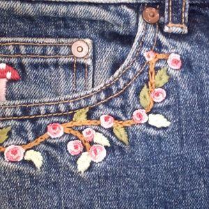 Gap denim shorts button up flower embroidery sz 4R